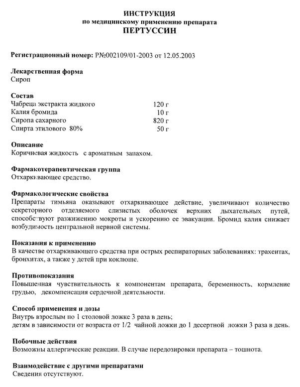 Пектуссин сироп инструкция по применению